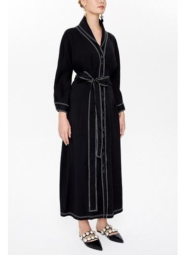 Societa Bağlamalı Uzun Elbise 92977 Siyah